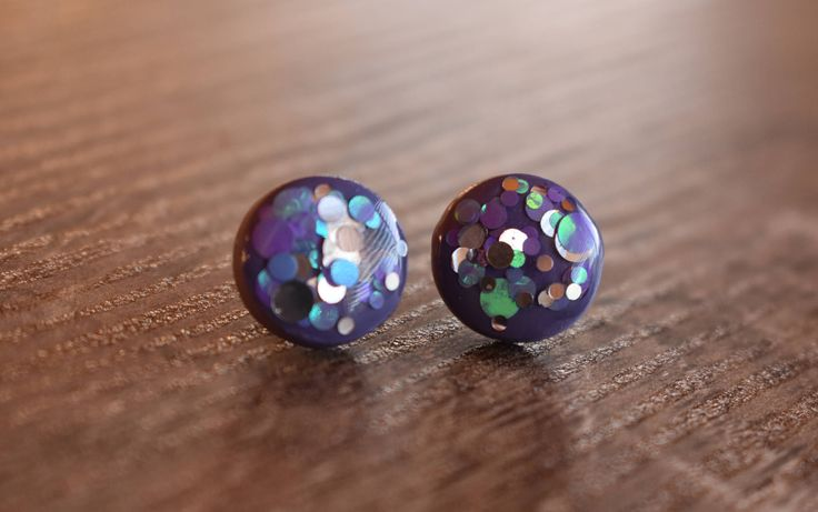 A personal favourite from my Etsy shop https://www.etsy.com/au/listing/519514212/plum-confetti-pop-earrings-12mm-studs