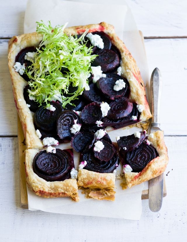 Beet Tart with goat and blue cheeses