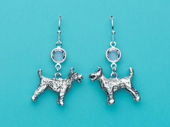 Schnauzer Earrings Schnauzer Dog Earrings Pale Pink Crystal