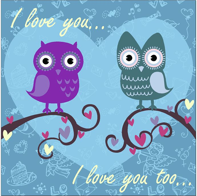 I love you owels birds Animals & Nature custom vinyl decals for home, office, or auto.  http://www.etsy.com/shop/AngelBabyVinyl?ref=search_shop_redirect