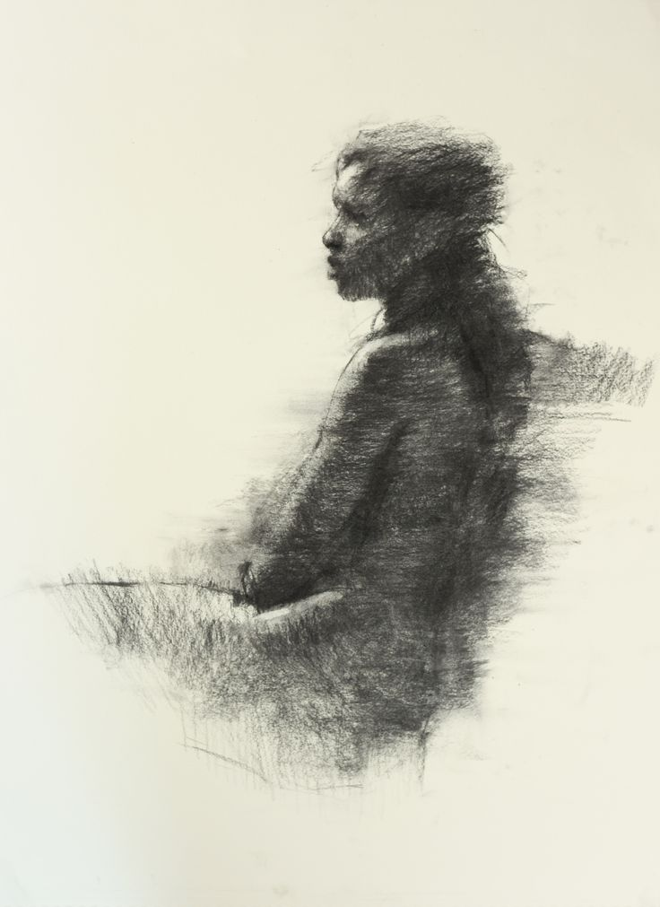 Charcoal drawing of young women