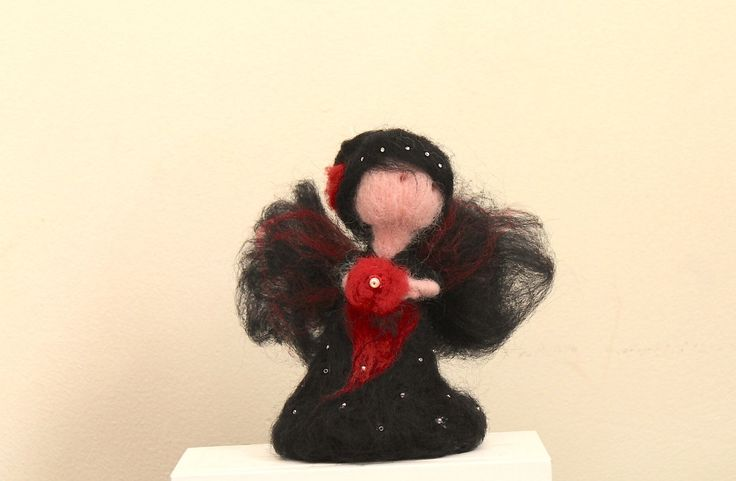 Felted Angel Black Needle felted standing Angel - doll. Ghotic Style by…