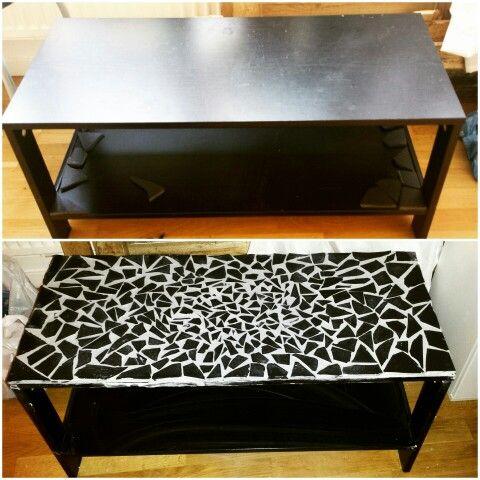 Vardagsrumsbord fick mosaik av krossat klinkers (gammalt köksgolv som jag hade kvar)