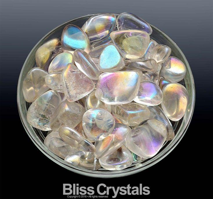 2 Medium CLEAR QUARTZ Rainbow Aura Tumbled Stone aka Opal Aura