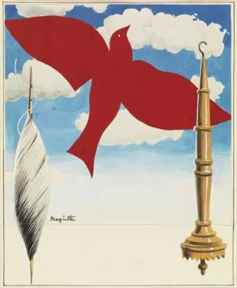 """Projet d'affiche pour """"La centrale des ouvriers textiles de Belgique"""" 1938 Crayon, gouache, encre sur papier, collage en deux parties Signature dans le bas à gauche : Magritte Dimensions : 189 x 153 mm Origine : Legs de Mme Irène Scutenaire-Hamoir, Bruxelles, 1996 Musées royaux des Beaux-Arts de Belgique, Bruxelles"""