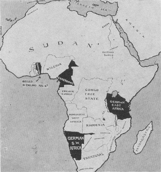 Map of German Possessions in Africa, 1914. Appreciated by #PhotoJdB