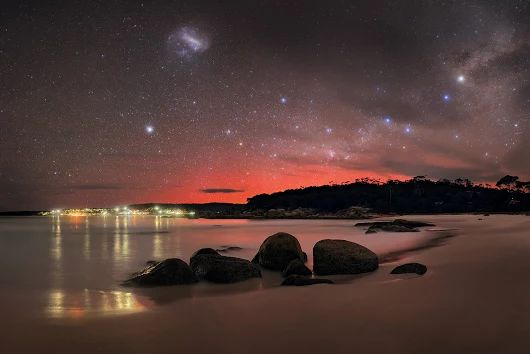 Aurora Australis, Southern Cross, Milky Way Galaxy and Large Magellanic Cloud Galaxy seen over Binalong Bay