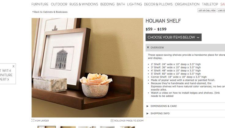 Homan Shelf Floating Wall Bookcase Pottery Barn