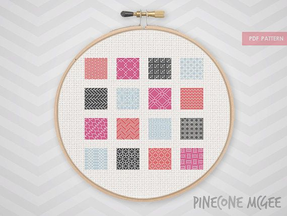 PINK BLACKWORK SAMPLER counted cross stitch par PineconeMcGee