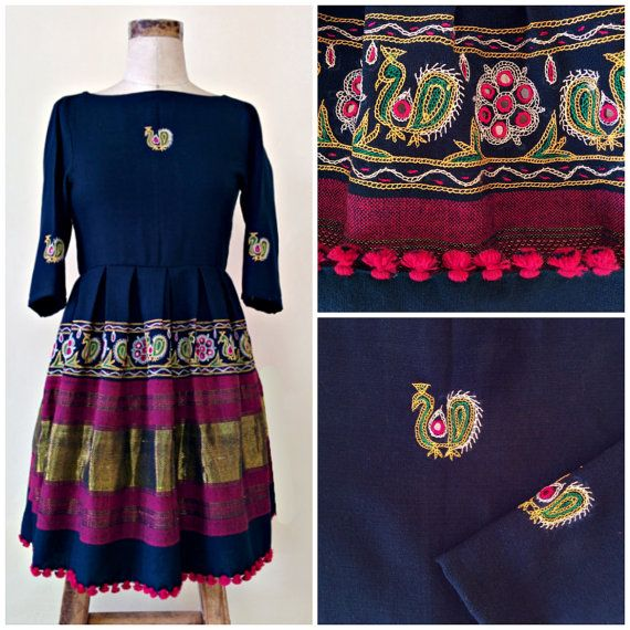 Navy Blue Hand Woven and Hand Embroidered Pleated Dress by Mogra