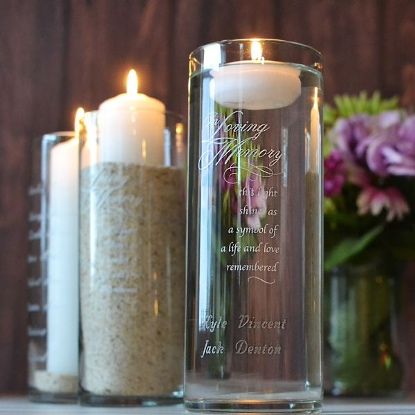 In Loving Memory Glass Memorial Candle Holder Personalized