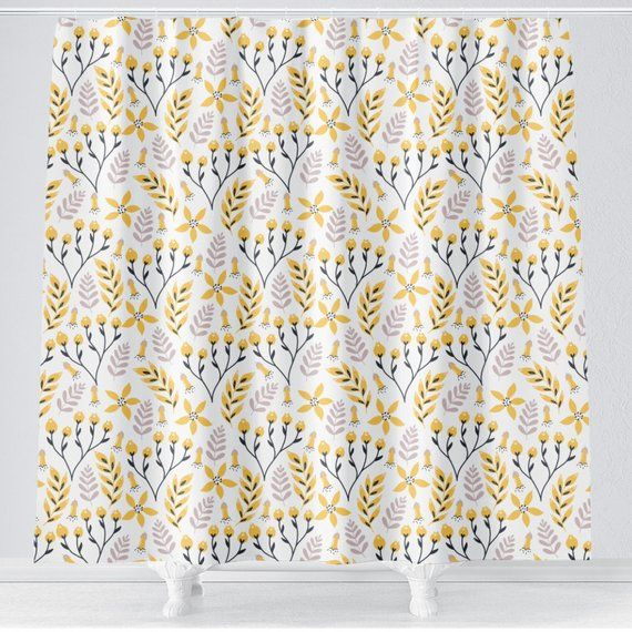 Yellow Gray Floral Girl Shower Curtain Girl Bathroom Curtain