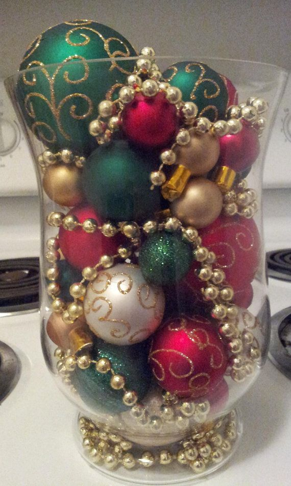 Christmas decoration with ornaments by HurricaneHeathers on Etsy, $25.00