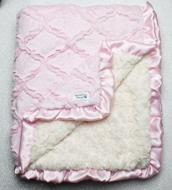 Minky Decke Baby-Mädchen Decke für Mädchen Rosa von RuthieandSage