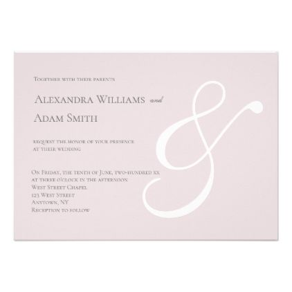 Pink & white simple ampersand wedding invitations - calligraphy gifts unique style cyo customize