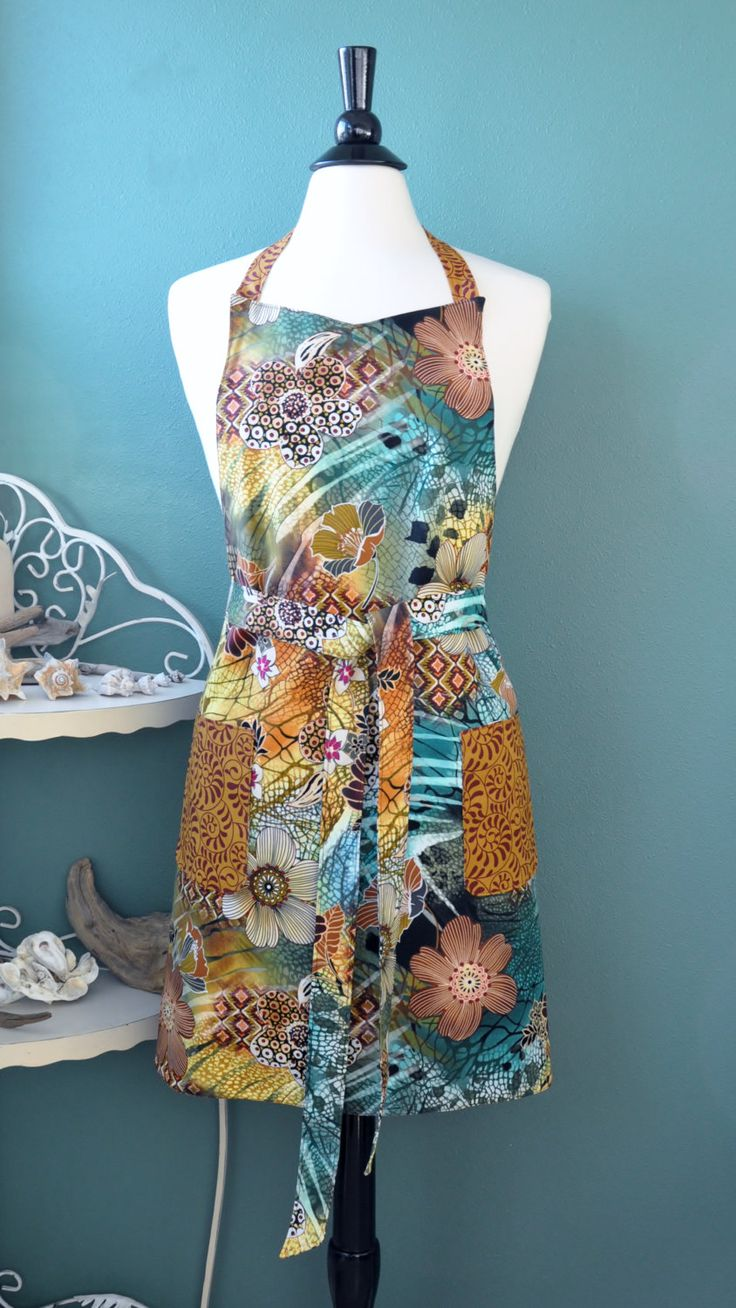 Modern Tropical Apron, Reversible Apron, Handmade Apron, Unique Apron by MooKieBmakes on Etsy