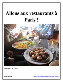 Have your students do authentic on-line ordering from French menus by visiting a variety of bistros and restaurants found in Paris, France!  The students have a variety of scenarios that they need to think about and are asked to order food from menus that are available to them.