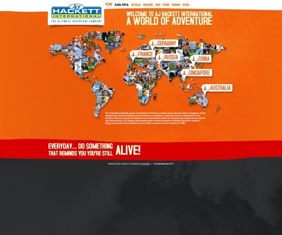 The AJ Hackett worldwide groups of companies (AJ Hackett, Australia, France, Germany, Macau, Singapore, Russia) represent the ultimate innovation and commitment to excellence in adventure tourism. http://www.ajhackett.com