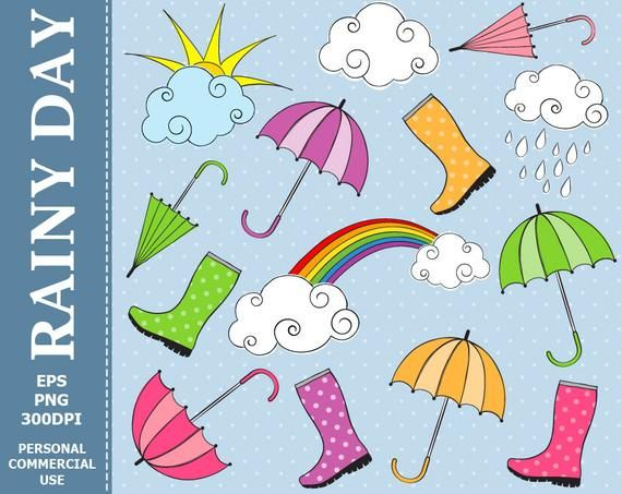 Hand Drawn Digital Rainy Day Clip Art Rain Umbrella Rain Etsy How To Draw Hands Rainy Day Clip Art