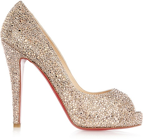 Christian Louboutin Wedding Shoes Satin Almond Toe With Swarovski Crystal