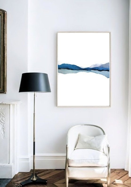 Modern Landscape Print of Abstract Watercolor Painting. Grey, Blue, White, Black. 16x20, 20x30 and 24x32 inches (or custom sizing)  NancyKnightArt.etsy.com Available in Portrait/Vertical and Landscape/Horizontal Format.  Note: to see this listing in 13x19 inch and smaller, please see listing: https://www.etsy.com/ca/listing/242831143 in my landscape section.  DESCRIPTION SUMMARY: • Print of my original watercolor painting . • Professionally printed on 310 gsm Hahnemuhle Matte Rag Paper. •…