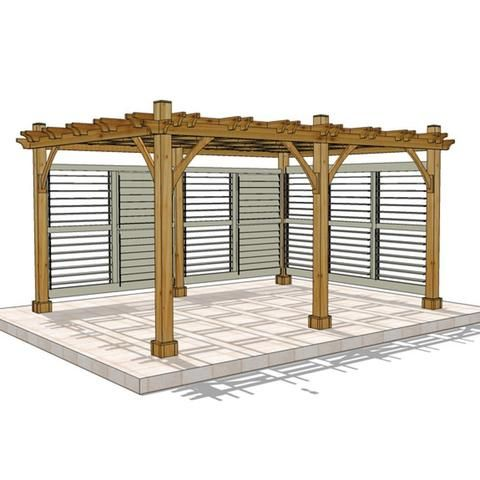 Outdoor Living Today - 12 x 16 Breeze Pergola with 2 Louvered Wall Panels - Default Title - Outdoor Living  - Yard Outlet