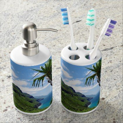 Tropical Kauai Nepali Coast Hawaii Soap Dispenser And Toothbrush Holder - diy cyo customize gift idea