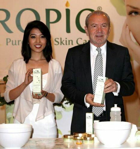 Susan Ma and Lord Alan Sugar are the co-owners of Tropic Skincare and Cosmetics. A unique approach to beauty. No chemicals, it's organic, vegan and cruelty free. It smells divine!!! Contact me to arrange a consultation or pamper experience where you get a free mini facial and free tropic products