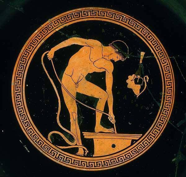 "shiningjasmin: "" shiningjasmin Painter Onesimos. Attic kylix with red figures depicting an athlete who takes water from a well. First third of the fifth century BC. Capitoline Museums, Rome, Italy. """