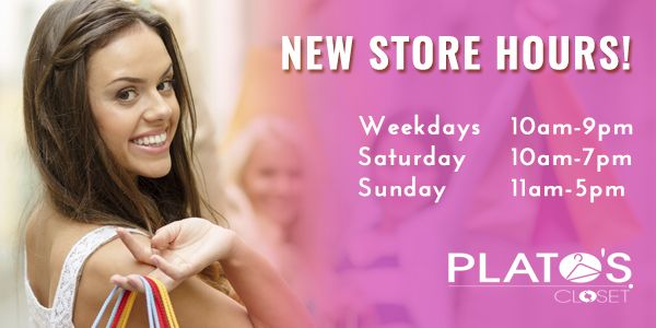 Starting June 7th #PlatosCloset will have NEW store hours! We will be open until 7pm on Saturdays & opening at 11am on Sundays! | www.platosclosetbarrie.com