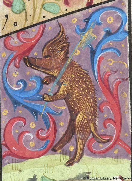 Boar standing on hind legs and holding scepter with left front hoof | Book of Hours | France, Paris | 1480–1500 | The Morgan Library & Museum
