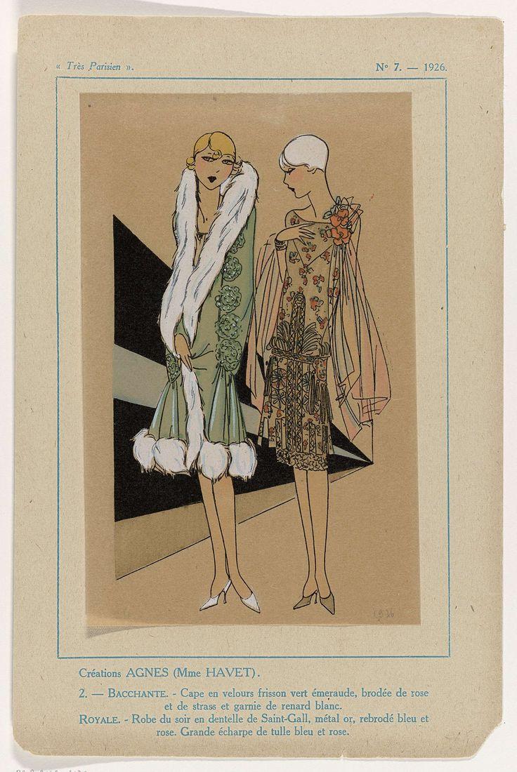 Anonymous | Très Parisien, 1926, No. 7 : 2:  Créations Agnes (Mme Havet)..., Anonymous, Agnes, G-P. Joumard, 1926 | Ontwerpen van Agnes ( Havet). Cape van smaragdgroene 'velours frisson' met geborduurde rozen en strass en gegarneerd met wit vossenbont. Goudkleurige avondjurk van kant van Saint-Gall, met borduurwerk in blauw en roze. Sjaal van blauwe en roze tule. Prent uit het modetijdschrift Très Parisien (1920-1936).
