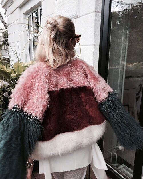 Flohralmist. Faux Fur Multi Textured Jacket.