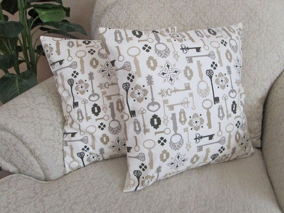 Vintage Style Keys Pillows, Novelty Print, Decorative Pillow Covers, Taupe, Gray, Black, Neutral Cushion Covers - Set of Two - 16 x 16