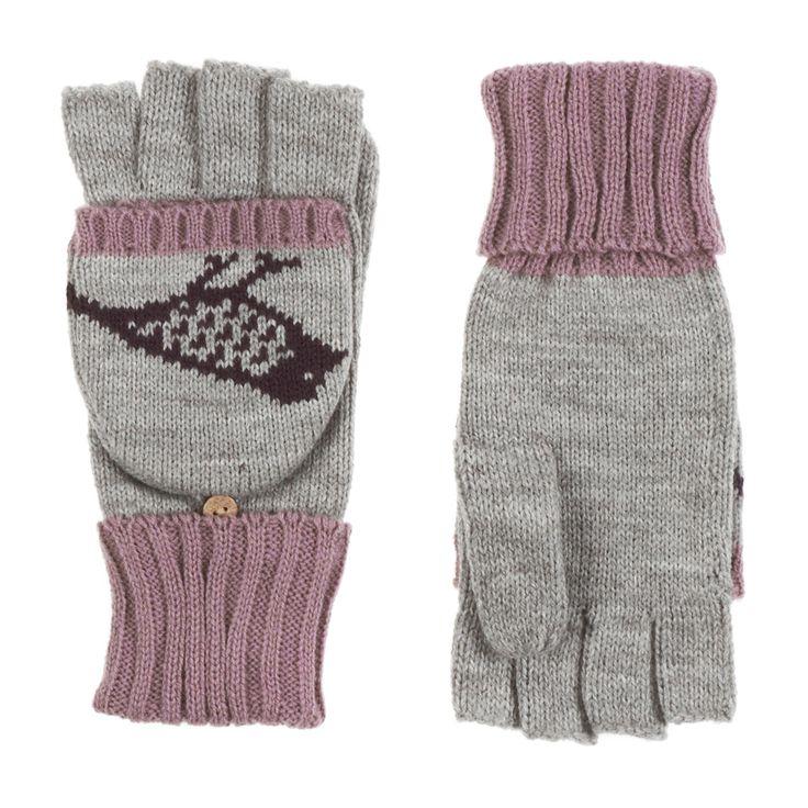 Pia Rossini Robyn Fingerless Gloves - Silver Grey/Blackberry