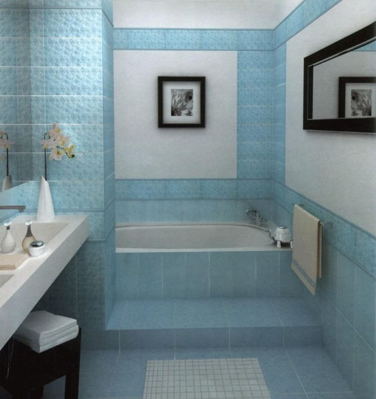 Gorgeous Small Bathroom Ideas With Blue Tile Wall Decor Including Frame On The Wall And Elegant Bathtub Also White Sink Gorgeous Small Bathroom Ideas with Many Variant Wall Paint Color Bathroom design