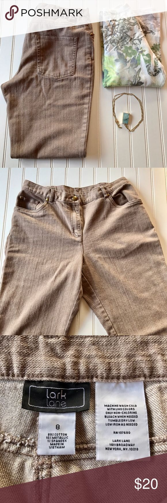 """Lark Lane Tan Jeans With Gold Accents Lark Lane Tan Jeans With Gold Accents.  Stretchy waist.  No rips or stains.  Waist 30"""" Inseam 28""""  No trades, offers welcome. Lark Lane Jeans"""