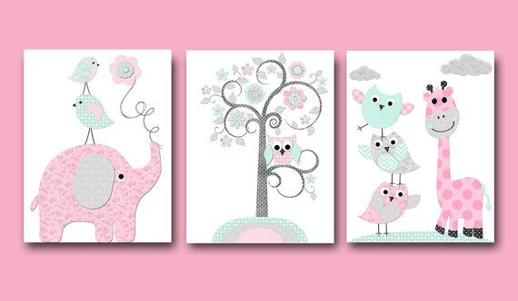 Elephant Nursery Giraffe Nursery Wall Decor Baby Girl Nursery Art Print Children Wall Art Baby Room Decor Kids Print set of 3 Pink Aqua