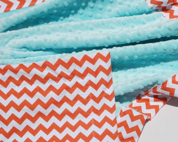 SALE  Orange Chevron Baby Blanket with Aqua Blue Minky by BoCoBaby, $40.00