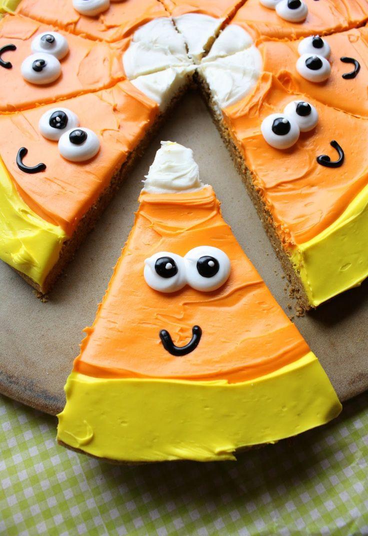 candy corn pumpkin cookie pizza halloween treats for kidshalloween dessertshalloween - Dessert Halloween