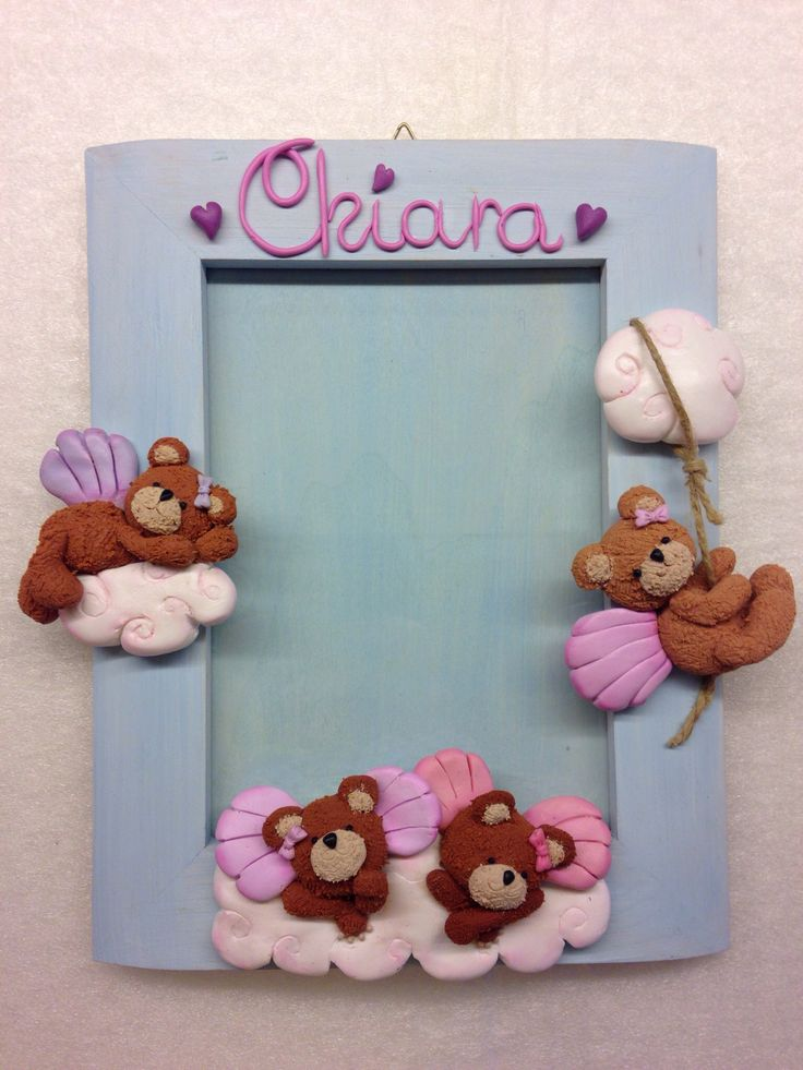"""Angel Bears"" Frame - fimo decorated"