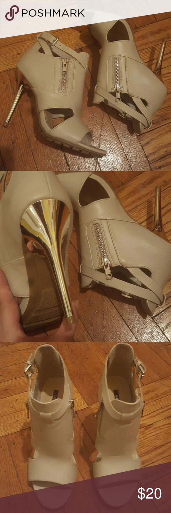 Nude open toe Silver spiked heels. Forever 21 Nude open toe Silver spiked heels. Forever 21. Worn once. Forever 21 Shoes Heels