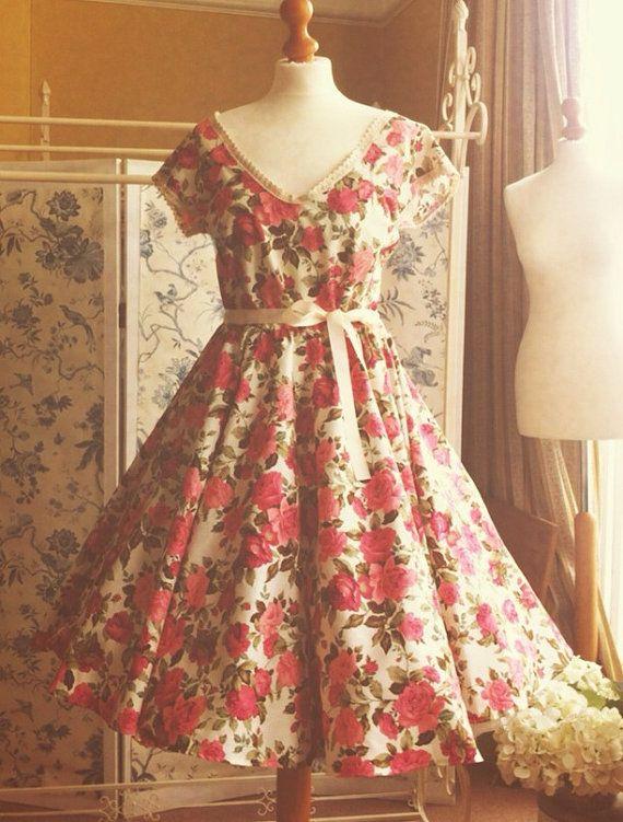 BELLA Floral full circle skirt tea dress by ThisModernLoveBridal