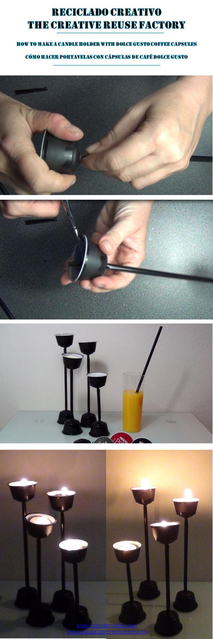 14.How to make a candleholder with Dolce Gusto Coffee capsules - Cómo hacer un portavelas con cápsulas