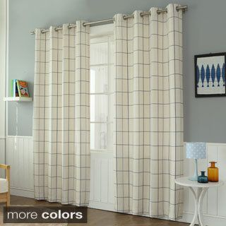 Aurora Home Geometric Grid Printed Linen Blend Grommet Curtain Panel Pair - 17212038 - Overstock.com Shopping - Great Deals on Aurora Home Curtains