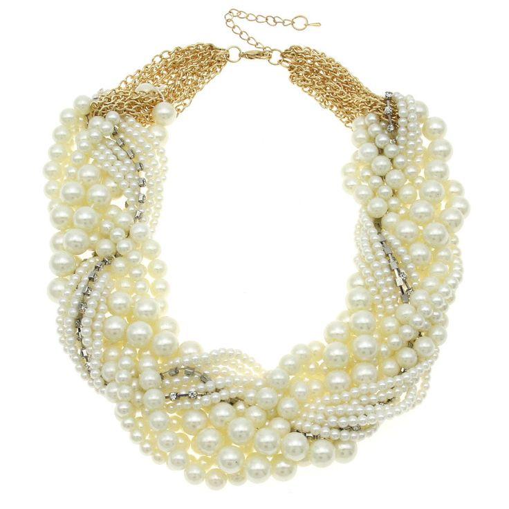 MANILAI Mujeres Handmade Chunky Collar de Perlas de Imitación de Moda Collar de diamantes de Imitación Gargantillas Collares Joyería Declaración Bijoux en Gargantilla Collares de Joyas y Accesorios en AliExpress.com   Alibaba Group