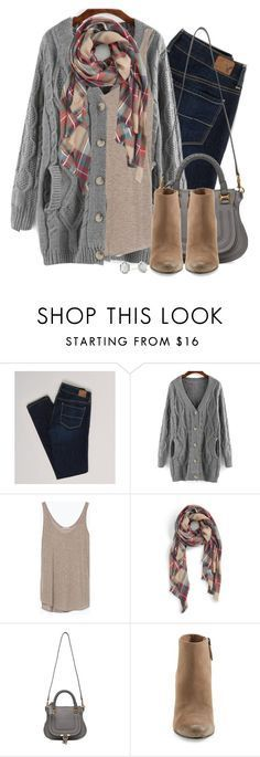 """Gray cable knit, wedge boots & plaid scarf"" by steffiestaffie � liked on Polyvore featuring American Eagle Outfitters, Zara, Sole Society, Chlo�, Dolce Vita and Kendra Scott"