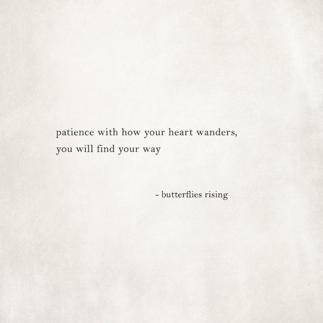 Patience With How Your Heart Wanders You Will Find Your Way Butterflies Rising Patience Quotes Be Patient Quotes Rise Quotes