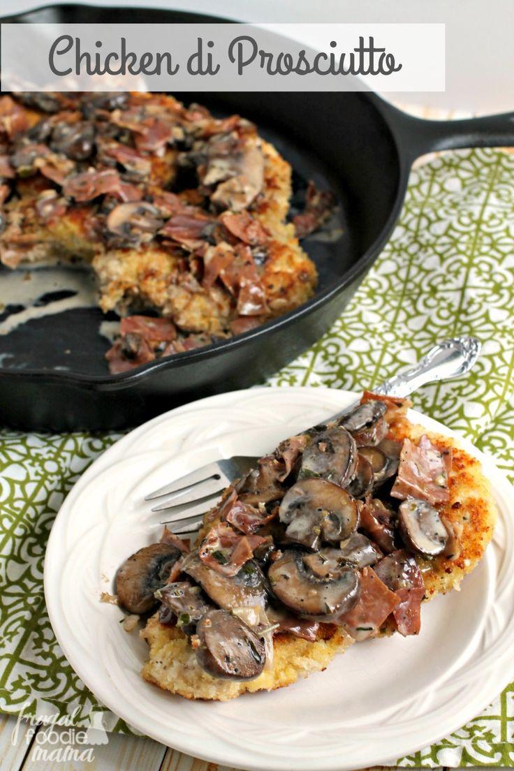 A creamy mushroom-tarragon sauce brimming with crispy prosciutto is served over golden brown panko breaded chicken breasts in this Chicken di Prosciutto dish.