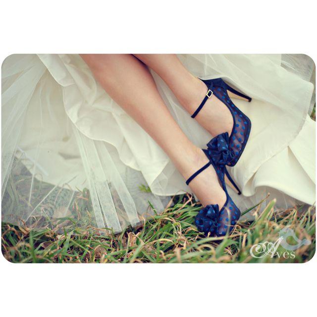 Sheer navy polka dot wedding shoes! :) gorgeous!!